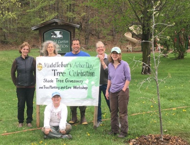 Chris Zeoli (center) with the members of the Middlebury Tree Committee