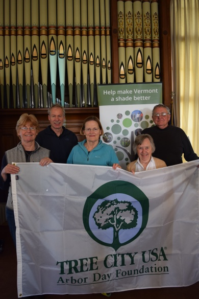 Brad (back left) and members of the Hartford Tree Board, accepting Hartford's Tree City USA designation honor at the 2017 VT Arbor Day Conference.